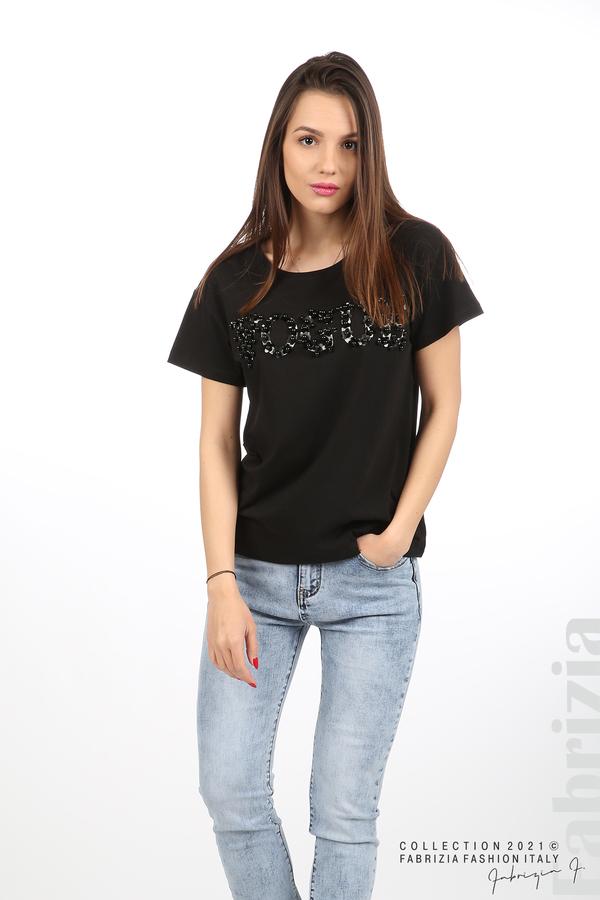 Едноцветна блуза с надпис Vogue черен 3 fabrizia