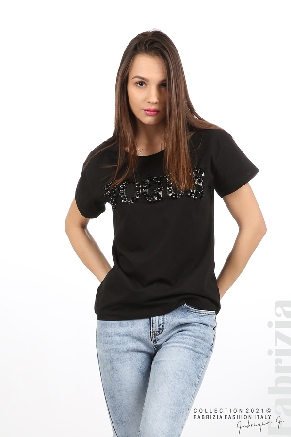 Едноцветна блуза с надпис Vogue черен 1 fabrizia