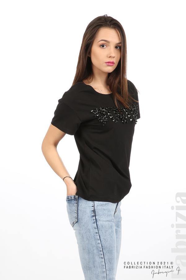 Едноцветна блуза с надпис Vogue черен 4 fabrizia