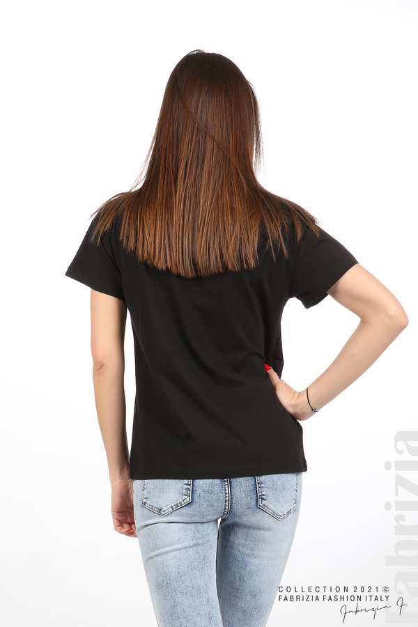 Едноцветна блуза с надпис Vogue черен 6 fabrizia