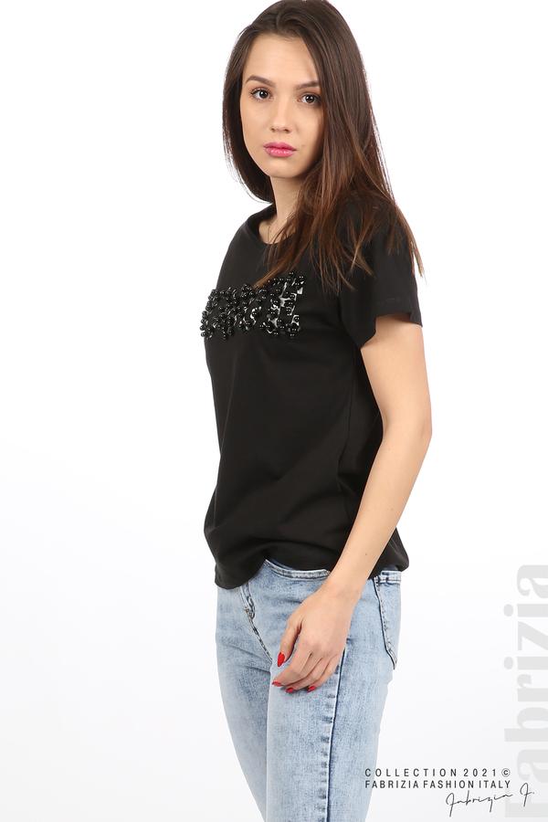 Едноцветна блуза с надпис Vogue черен 2 fabrizia