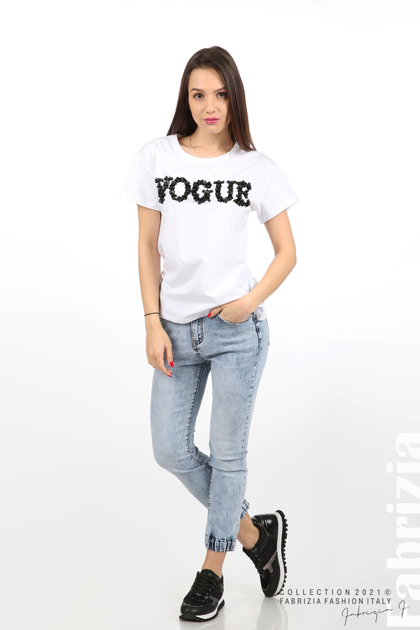 Едноцветна блуза с надпис Vogue бял 3 fabrizia