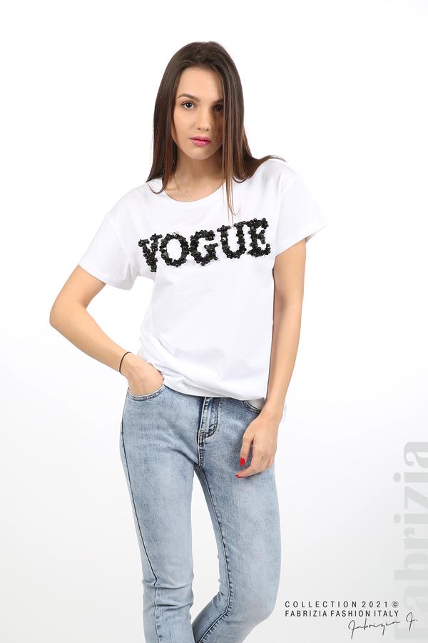 Едноцветна блуза с надпис Vogue бял 5 fabrizia