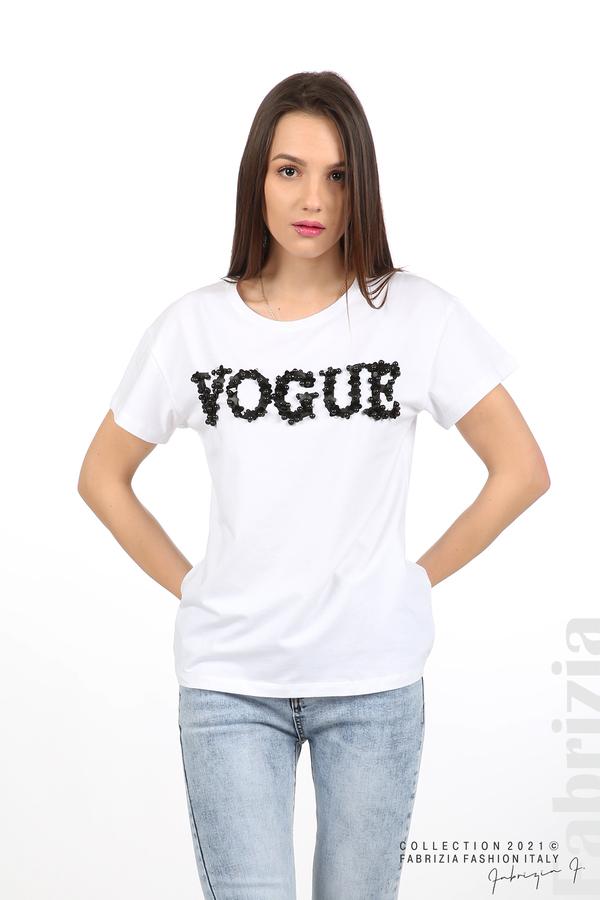 Едноцветна блуза с надпис Vogue бял 1 fabrizia