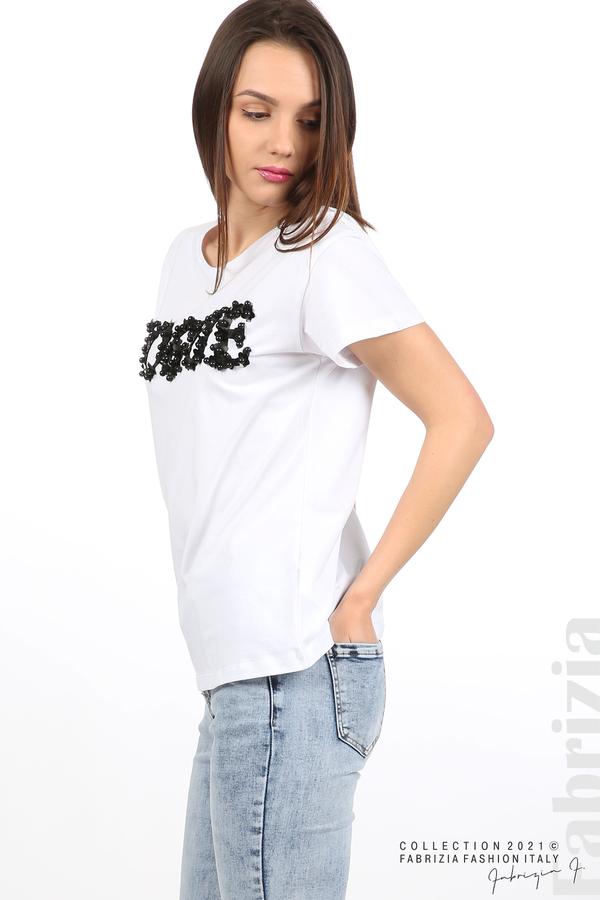 Едноцветна блуза с надпис Vogue бял 4 fabrizia
