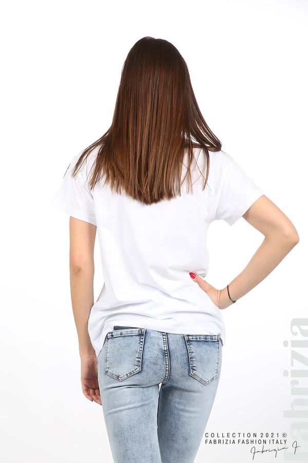 Едноцветна блуза с надпис Vogue бял 6 fabrizia