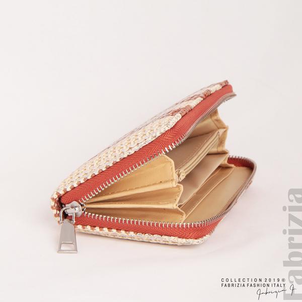 Дамско портмоне с вертикални ленти кафяв 1 fabrizia