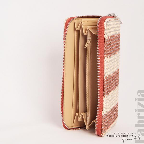 Дамско портмоне с вертикални ленти кафяв 5 fabrizia