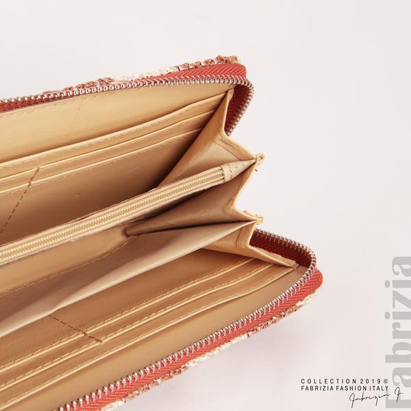 Дамско портмоне с вертикални ленти кафяв 6 fabrizia