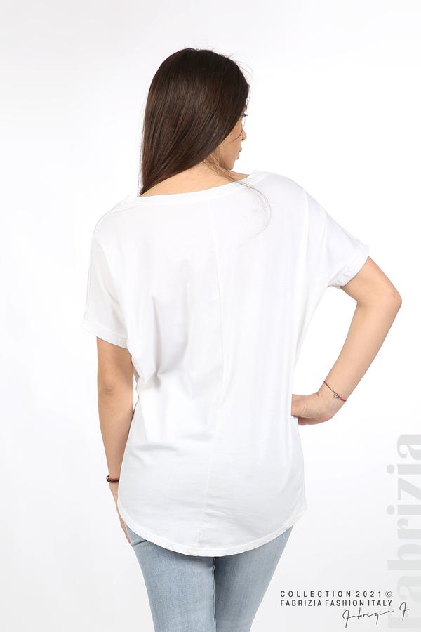 Блуза Self control ябълка бял/златист 4 fabrizia