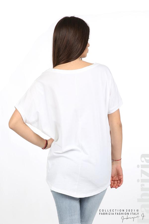 Блуза Smile с мечета бял/сребрист 6 fabrizia