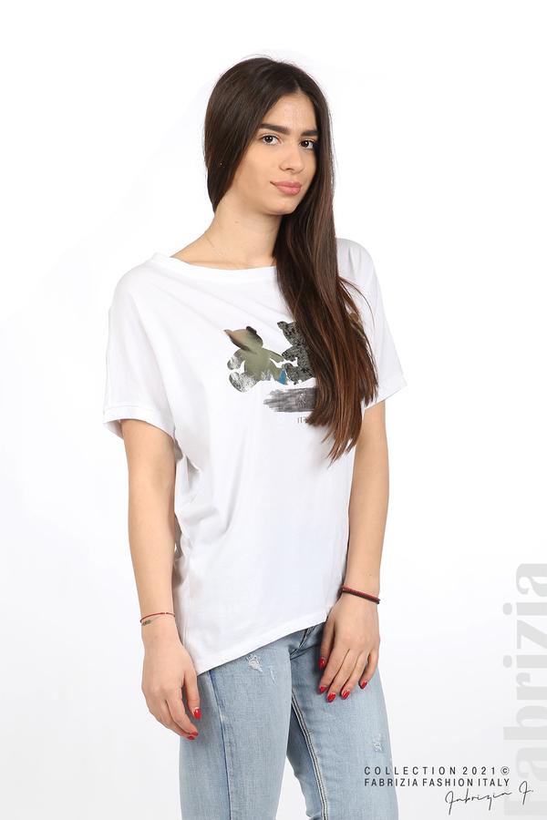 Блуза Smile с мечета бял/сребрист 1 fabrizia