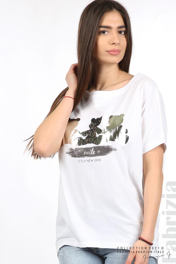 Блуза Smile с мечета бял/сребрист 2 fabrizia