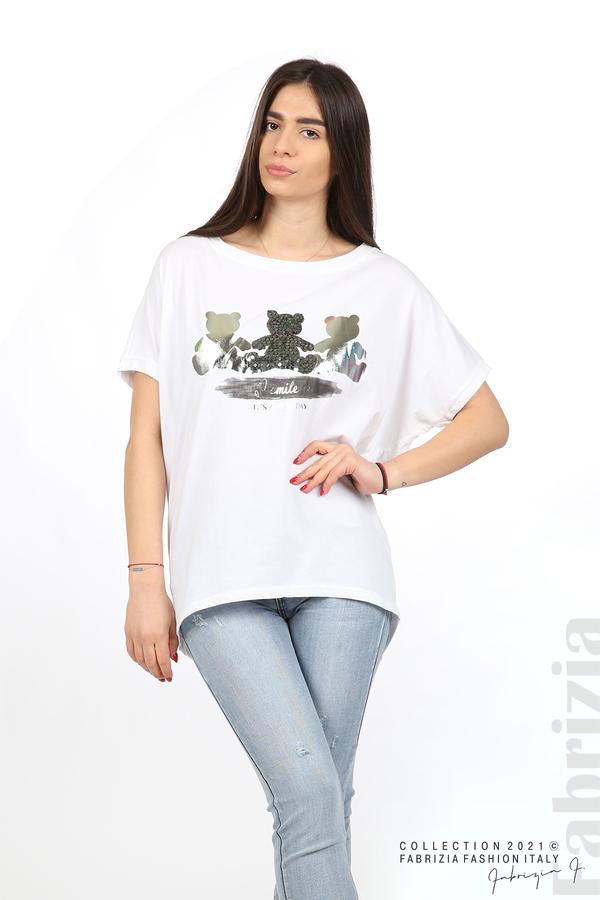 Блуза Smile с мечета бял/сребрист 5 fabrizia