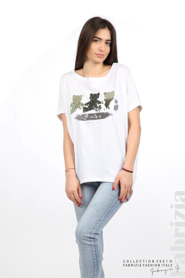 Блуза Smile с мечета бял/сребрист 4 fabrizia