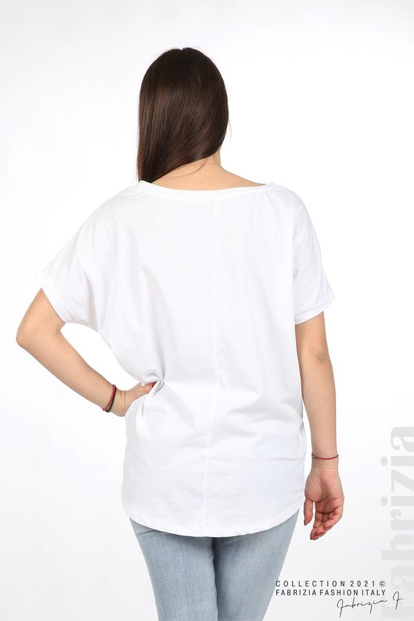Блуза мече от пайети бял/сребрист 4 fabrizia