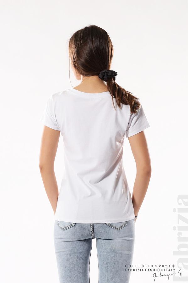 Блуза с щампа You Love бял/златист 5 fabrizia