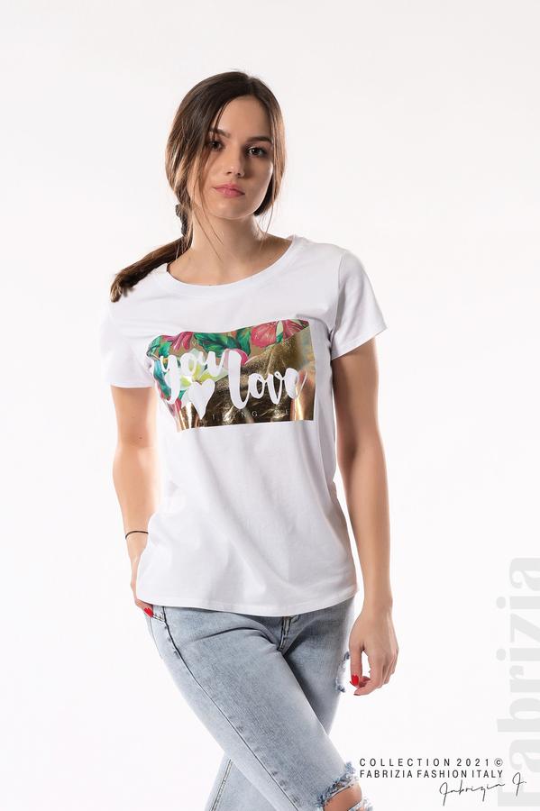 Блуза с щампа You Love бял/златист 1 fabrizia