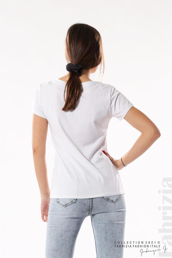 Блуза с щампа You Love бял/сребрист 5 fabrizia