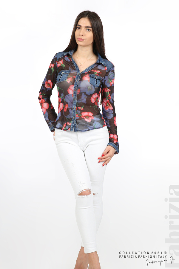 Риза тюл и деним на цветя черен/червен 4 fabrizia