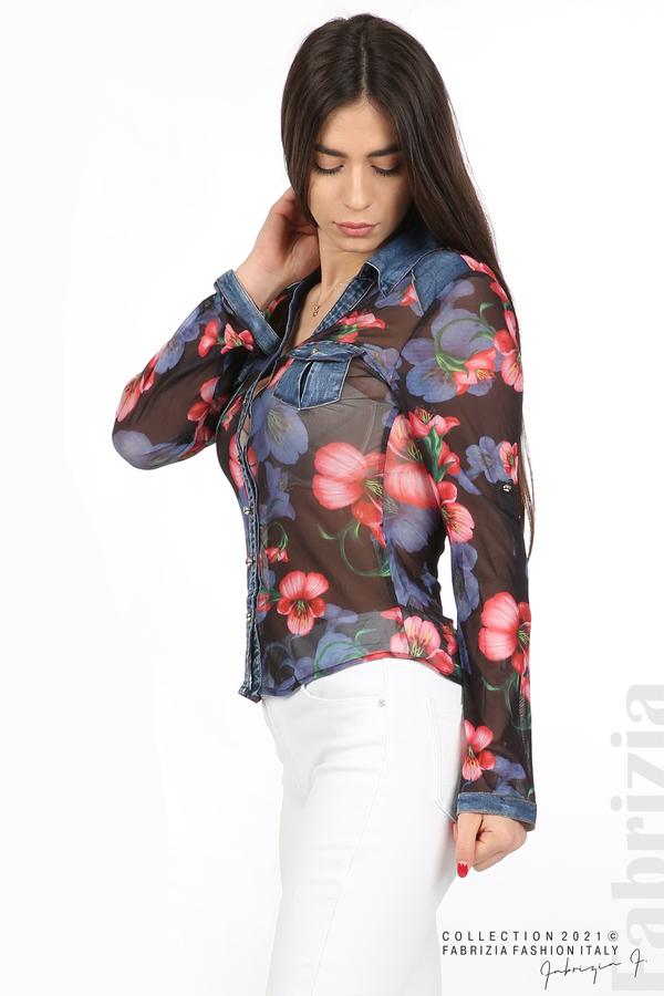 Риза тюл и деним на цветя черен/червен 6 fabrizia