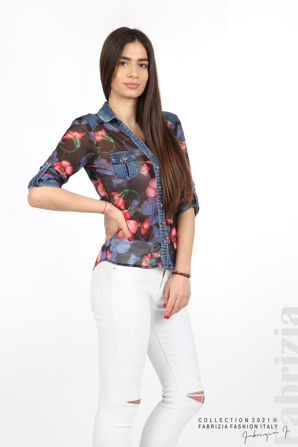 Риза тюл и деним на цветя черен/червен 5 fabrizia