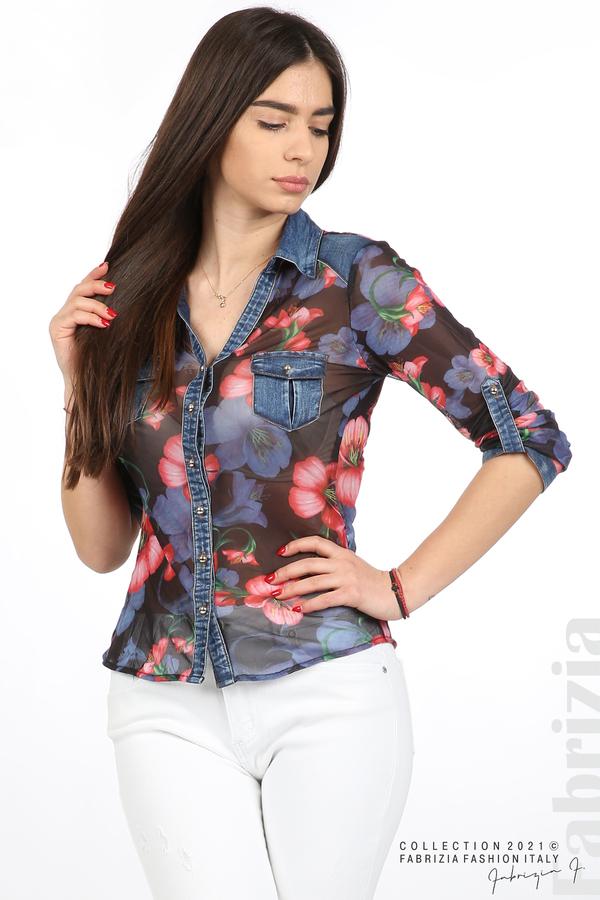 Риза тюл и деним на цветя черен/червен 3 fabrizia