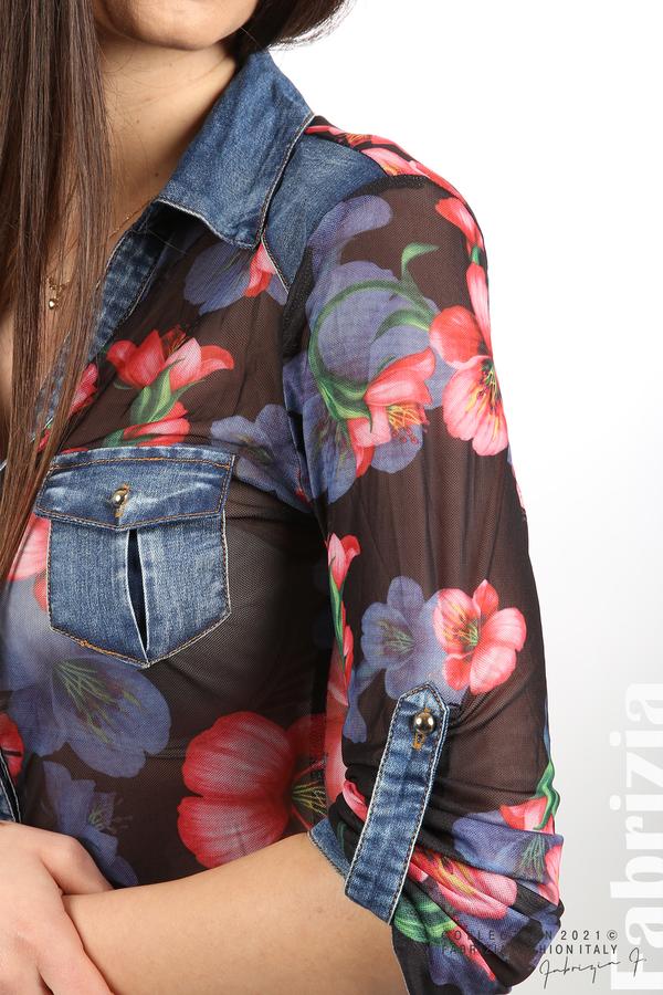 Риза тюл и деним на цветя черен/червен 1 fabrizia