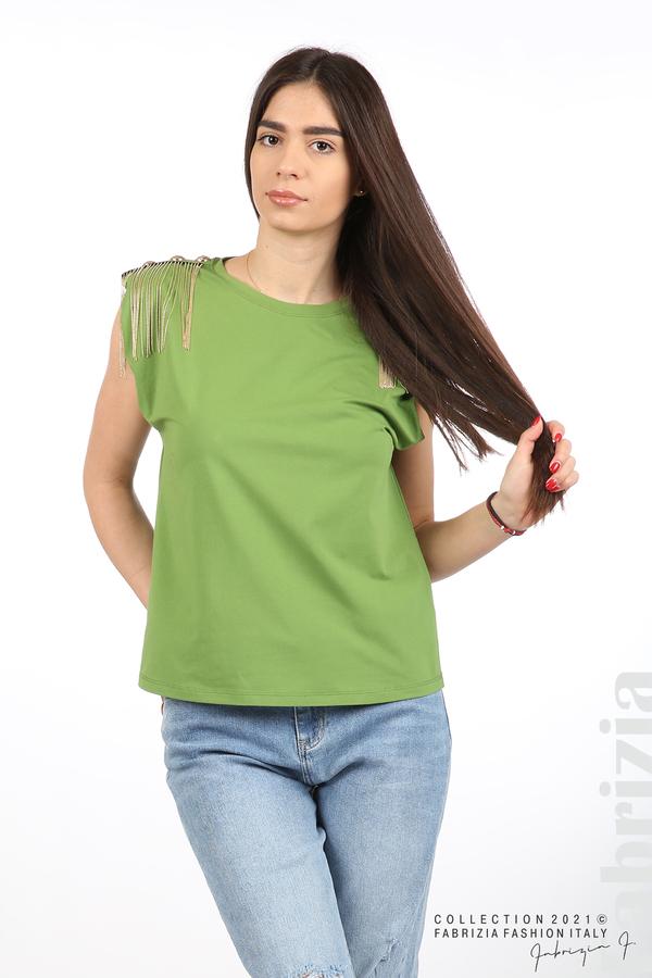 Топ с ефектни еполети зелен 5 fabrizia