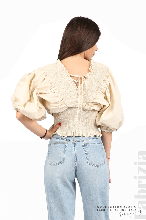 Блуза с обемни ръкави пудра 6 fabrizia