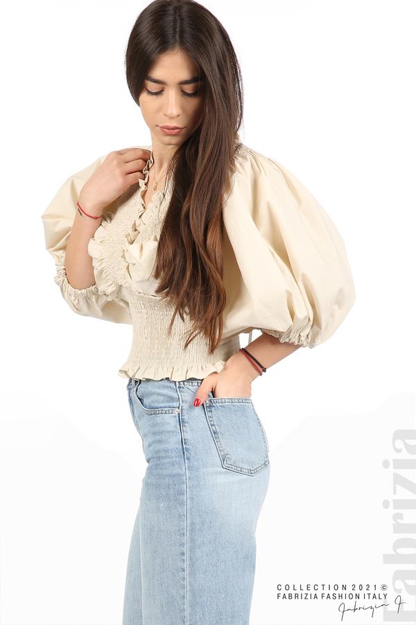Блуза с обемни ръкави пудра 2 fabrizia