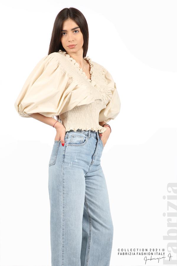 Блуза с обемни ръкави пудра 5 fabrizia