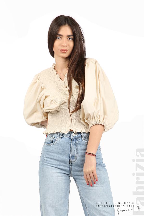 Блуза с обемни ръкави пудра 1 fabrizia