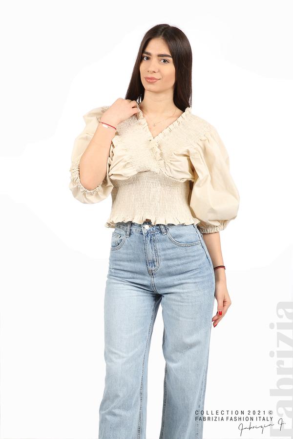 Блуза с обемни ръкави пудра 4 fabrizia