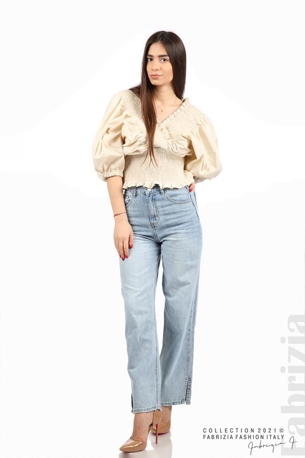 Блуза с обемни ръкави пудра 3 fabrizia