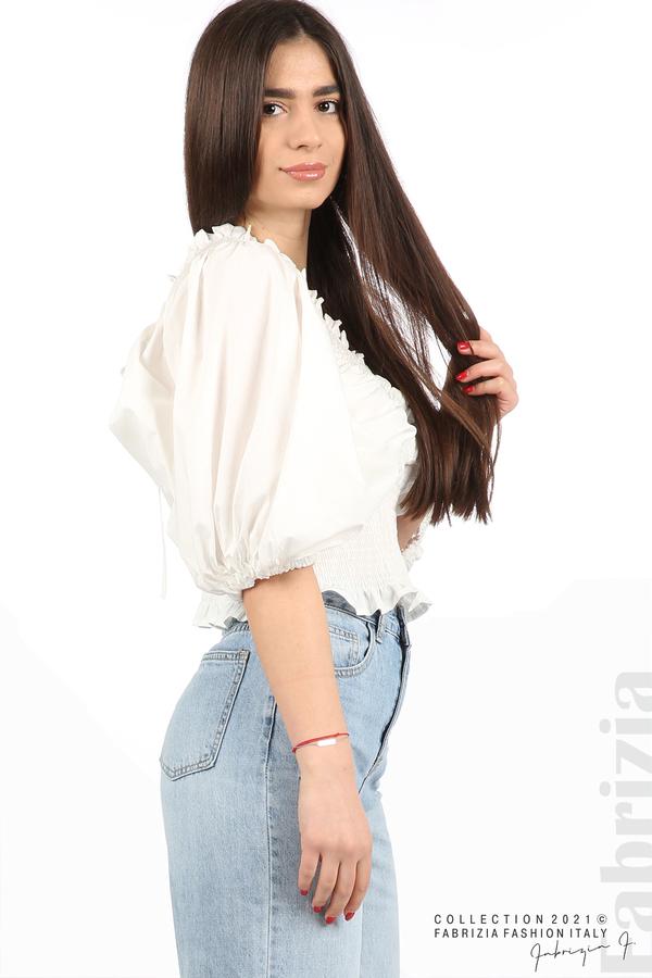 Блуза с обемни ръкави бял 2 fabrizia