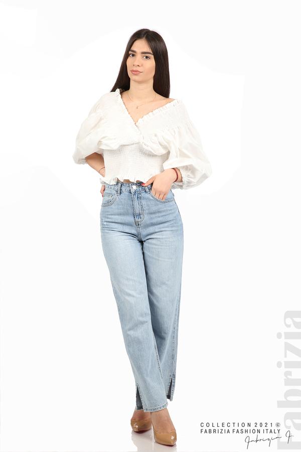 Блуза с обемни ръкави бял 3 fabrizia