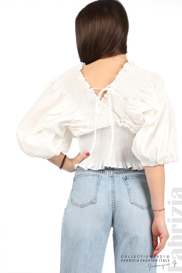 Блуза с обемни ръкави бял 6 fabrizia