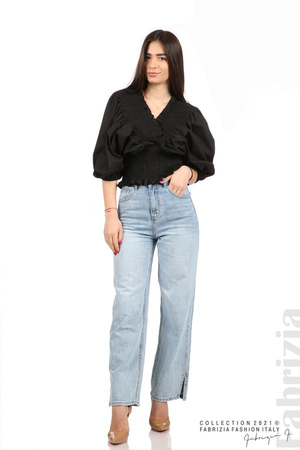 Блуза с обемни ръкави черен 3 fabrizia