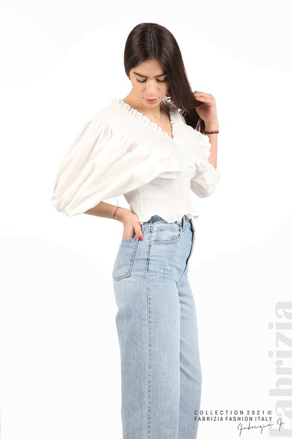 Блуза с обемни ръкави бял 5 fabrizia