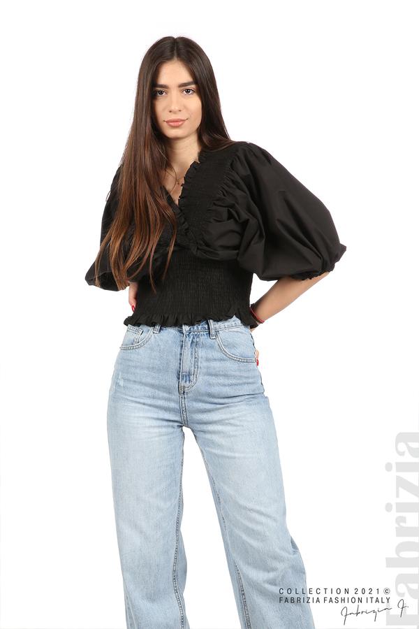 Блуза с обемни ръкави черен 5 fabrizia