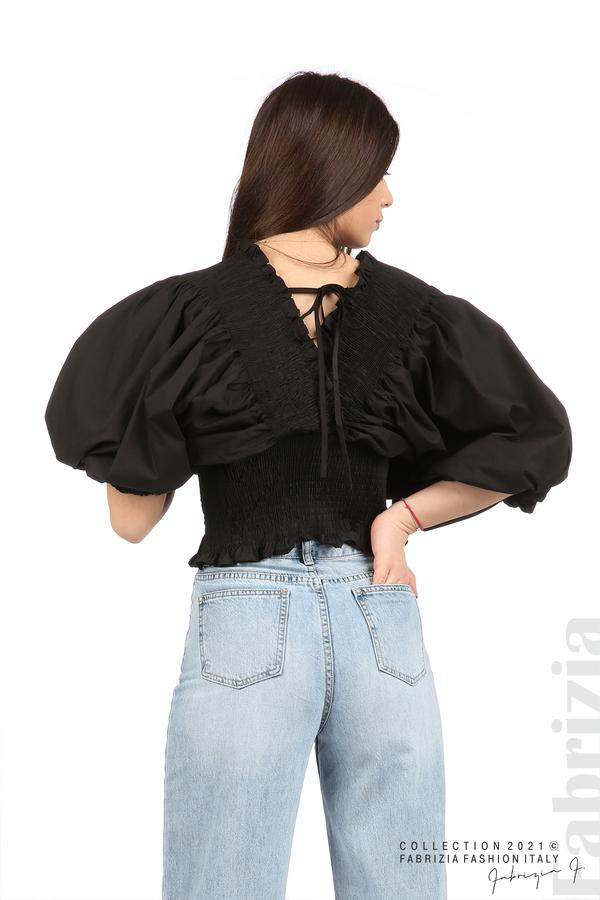Блуза с обемни ръкави черен 6 fabrizia