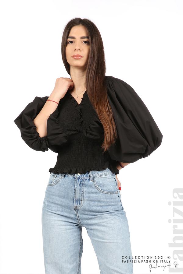 Блуза с обемни ръкави черен 1 fabrizia