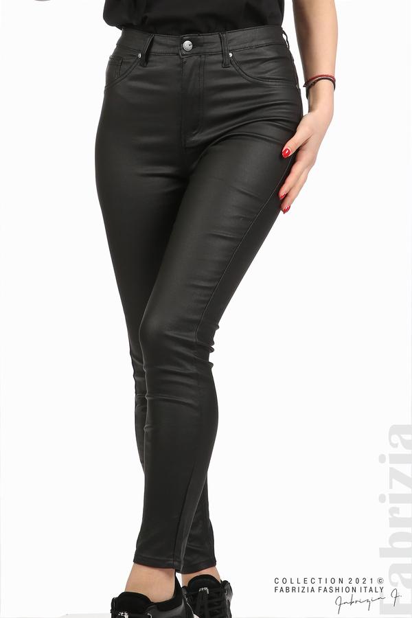 Черен панталон с промазан ефект черен 2 fabrizia