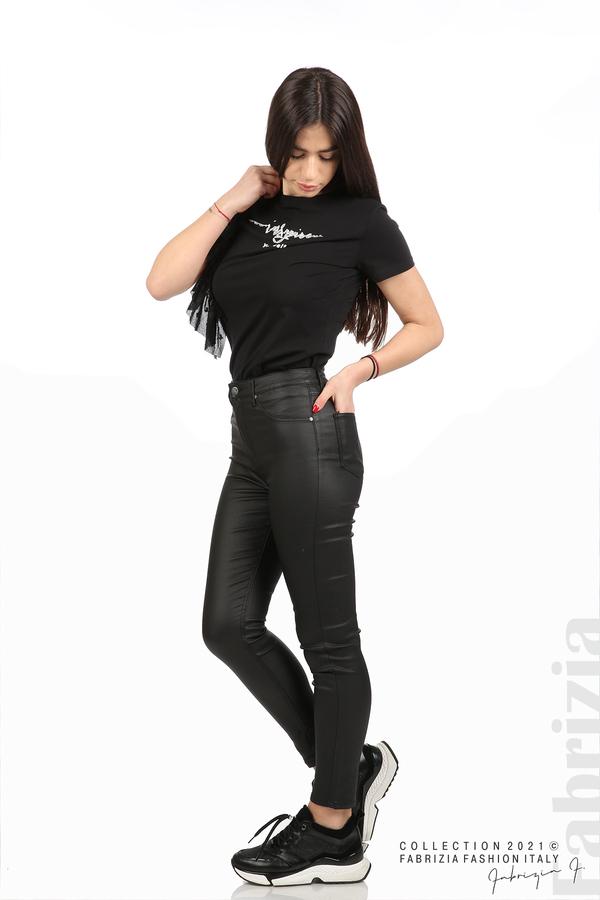 Черен панталон с промазан ефект черен 3 fabrizia