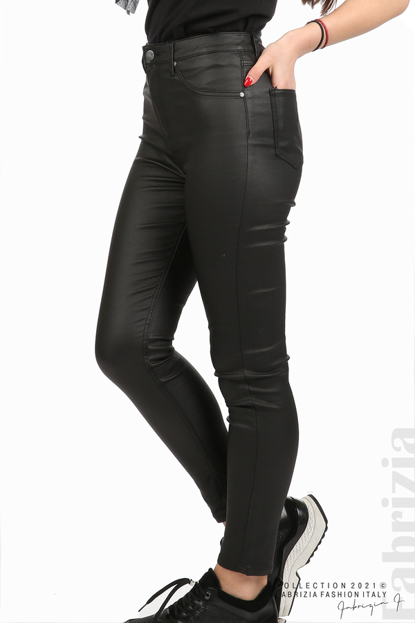 Черен панталон с промазан ефект черен 4 fabrizia