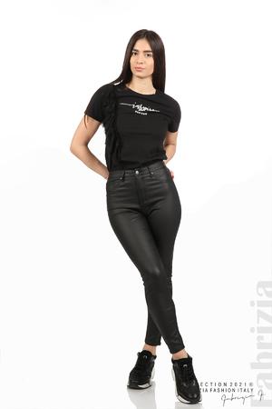 Черен панталон с промазан ефект