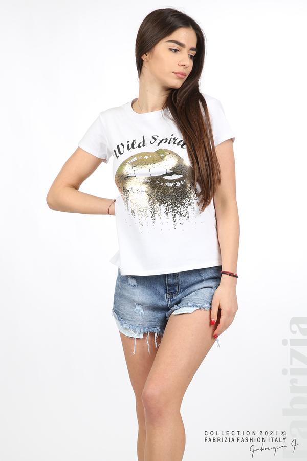 Блуза Wild Spirit бял/златист 3 fabrizia