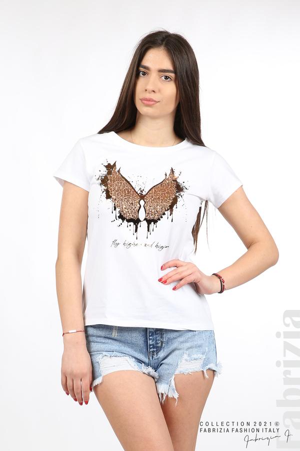 Блуза крила на пеперуда бял/меден 1 fabrizia