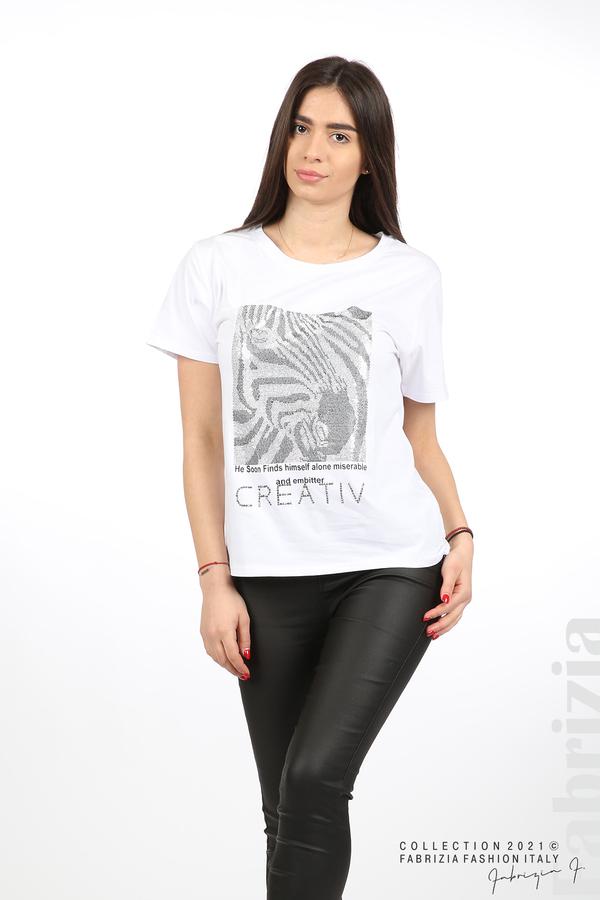 Блуза Creativ зебра бял 5 fabrizia